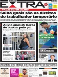 Capa do jornal Extra 29/10/2020