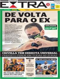 Capa do jornal Extra 30/11/2020