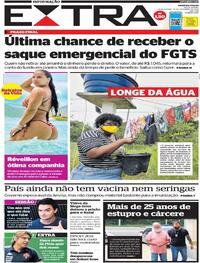 Capa do jornal Extra 30/12/2020