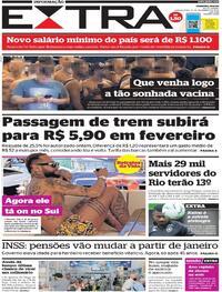 Capa do jornal Extra 31/12/2020