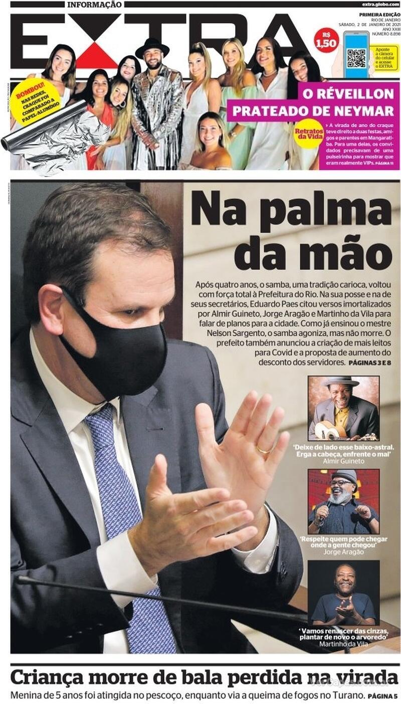 Capa do jornal Extra 02/01/2021