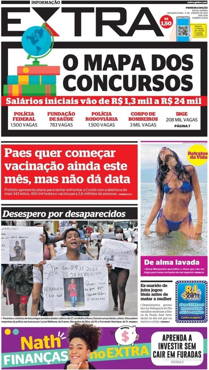 Capa do jornal Extra 04/01/2021