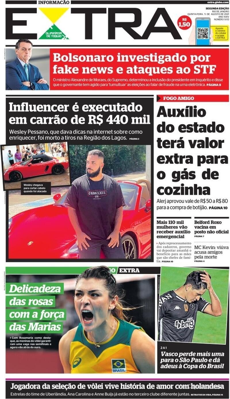 Capa do jornal Extra 05/08/2021
