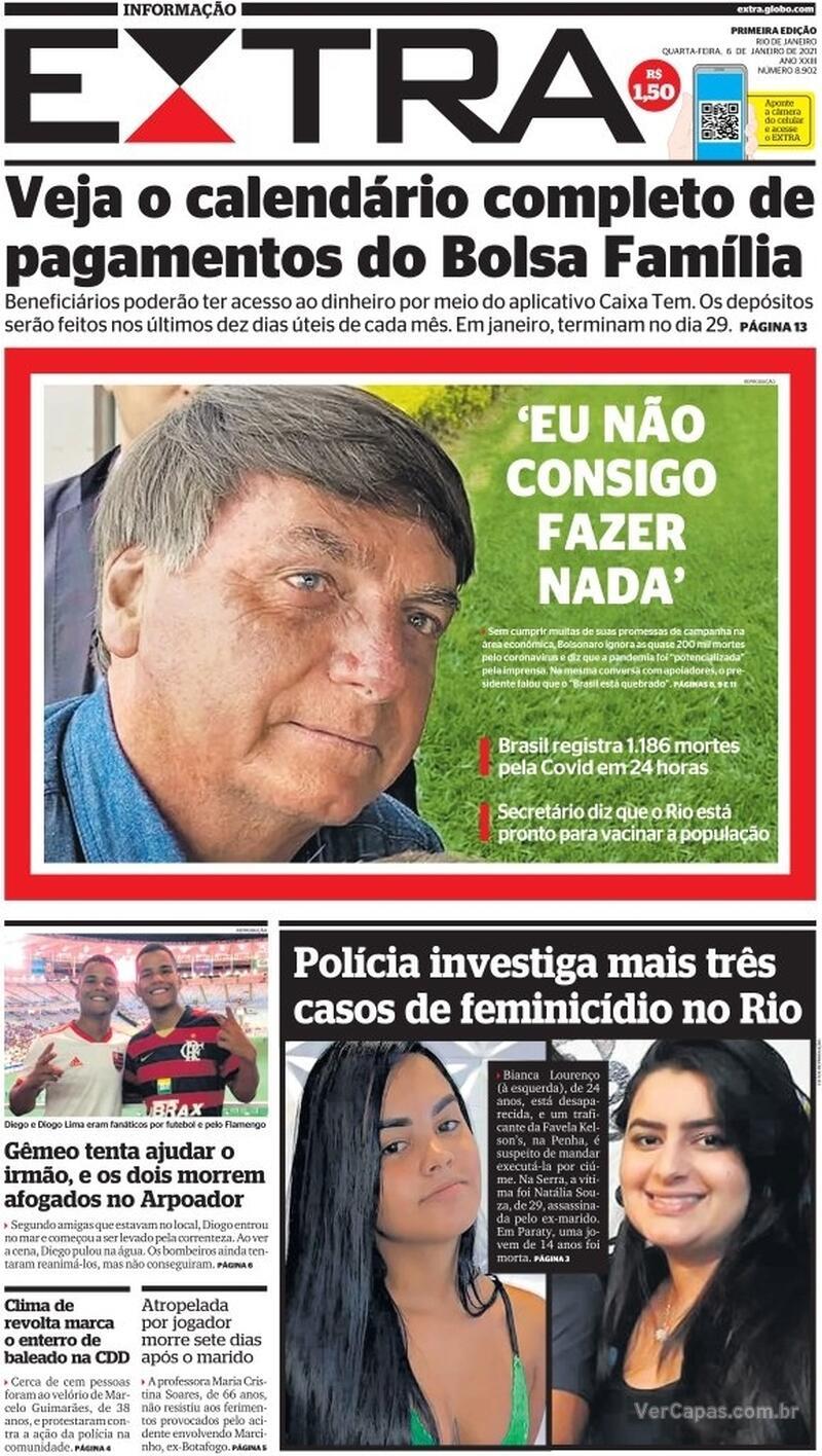 Capa do jornal Extra 06/01/2021