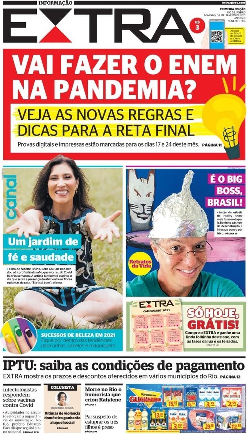 Capa do jornal Extra 10/01/2021