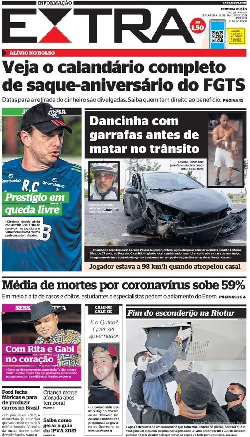 Capa do jornal Extra 12/01/2021