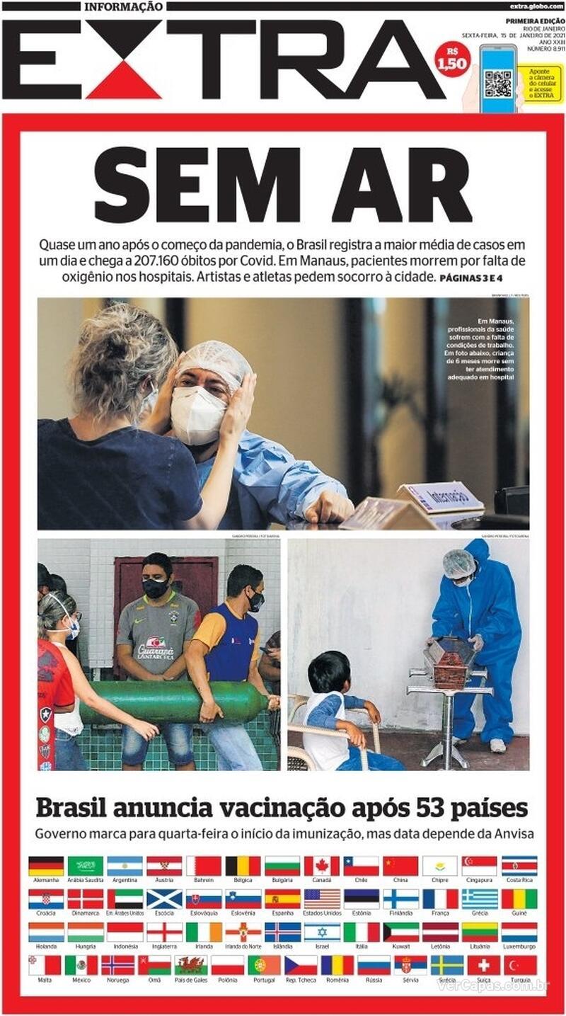 Capa do jornal Extra 15/01/2021