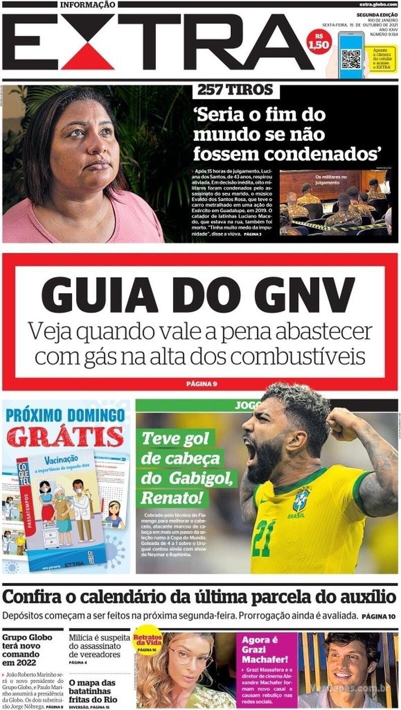 Capa do jornal Extra 15/10/2021