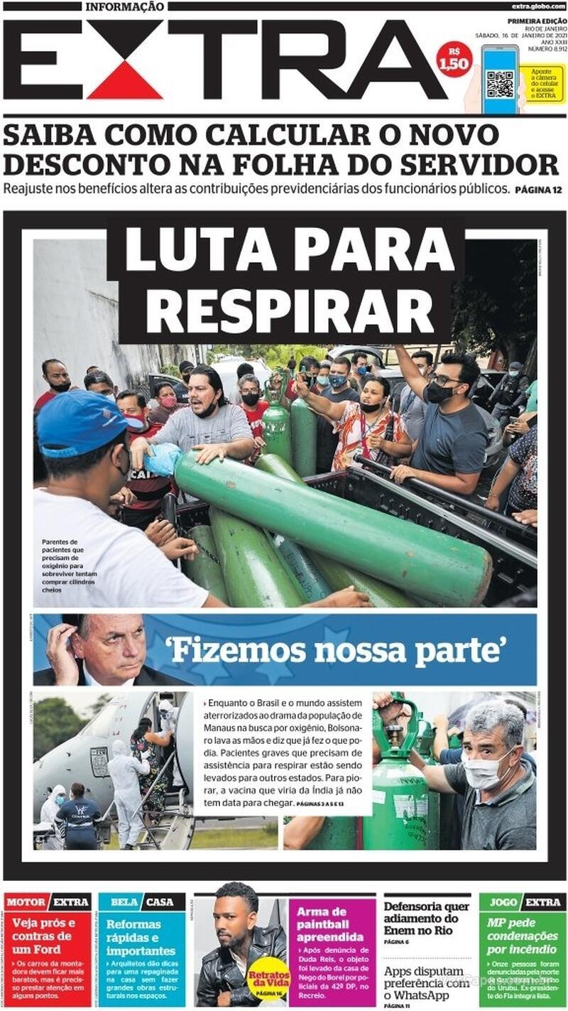 Capa do jornal Extra 16/01/2021