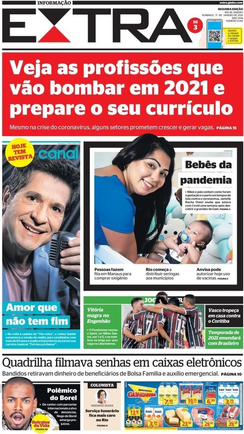 Capa do jornal Extra 17/01/2021