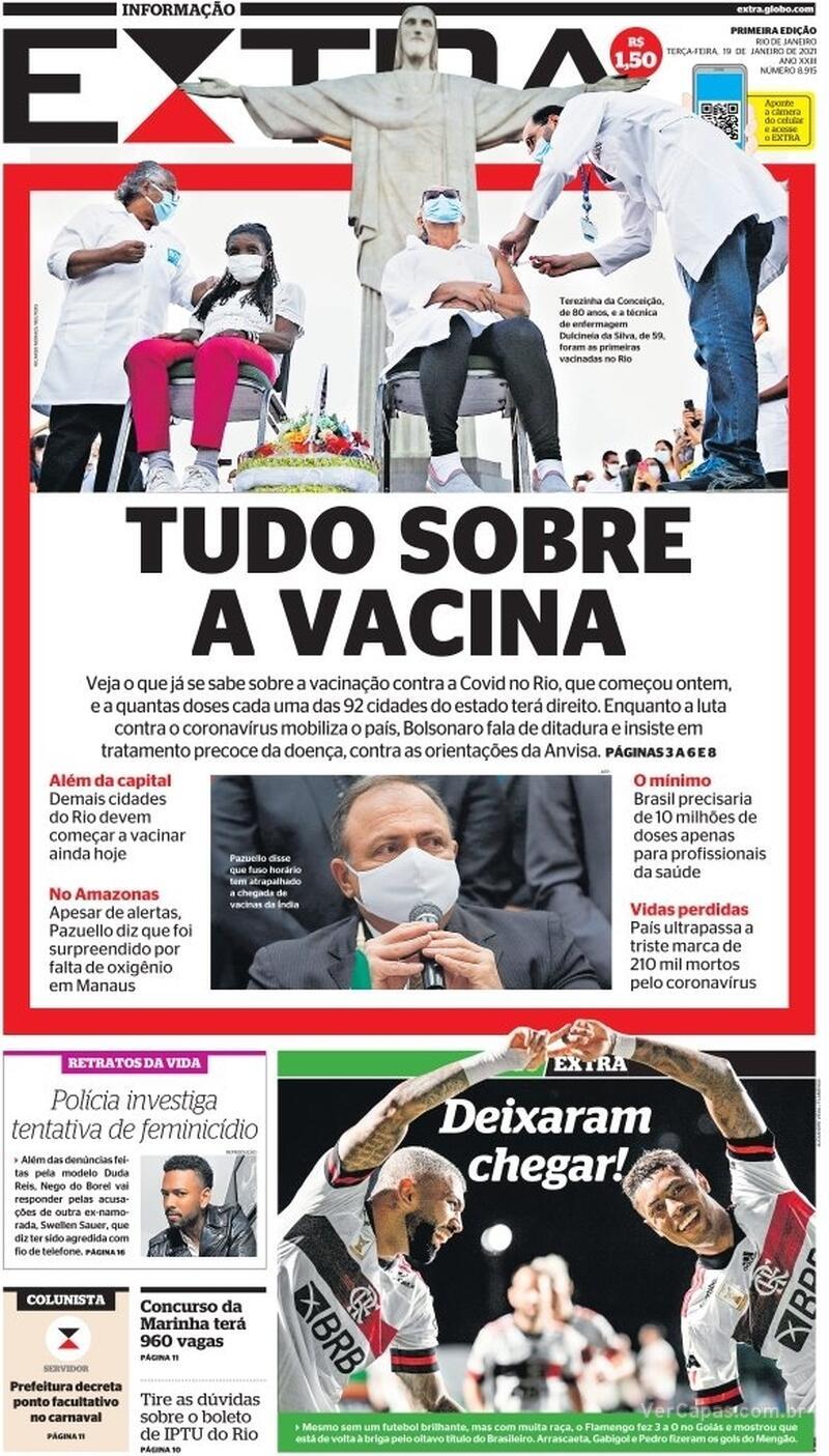 Capa do jornal Extra 19/01/2021