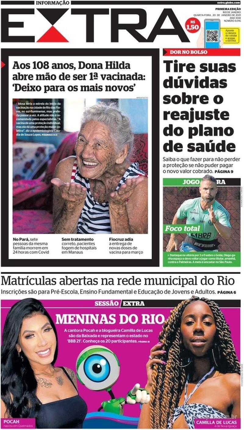 Capa do jornal Extra 20/01/2021