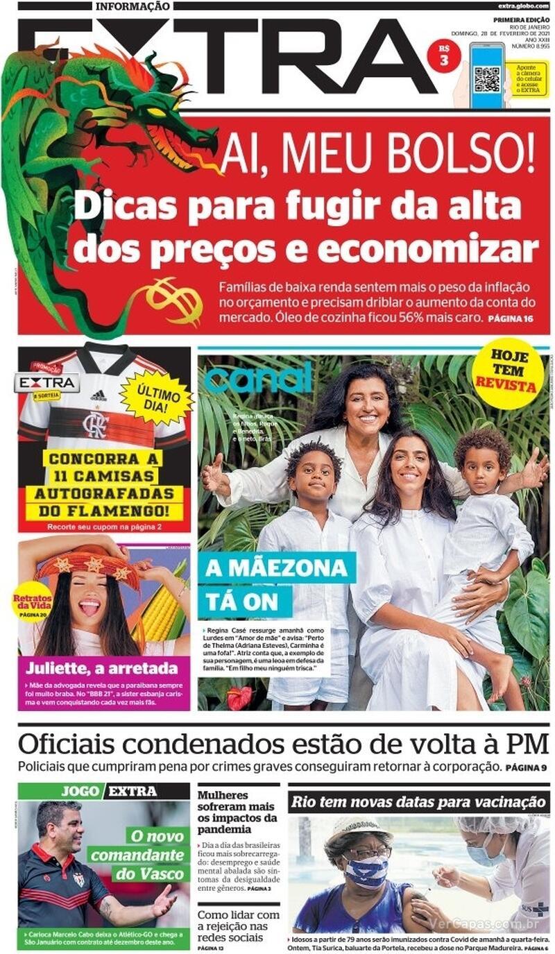 Capa do jornal Extra 28/02/2021