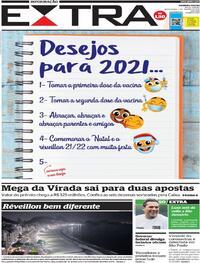 Capa do jornal Extra 01/01/2021