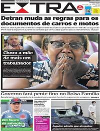 Capa do jornal Extra 05/01/2021