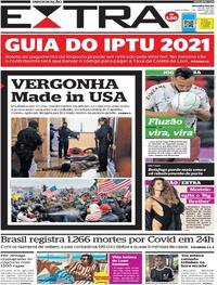 Capa do jornal Extra 07/01/2021