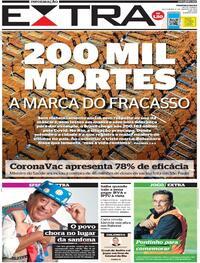 Capa do jornal Extra 08/01/2021