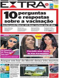 Capa do jornal Extra 09/01/2021