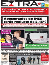 Capa do jornal Extra 13/01/2021