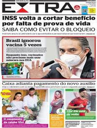 Capa do jornal Extra 14/05/2021