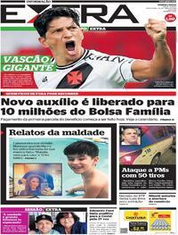 Capa do jornal Extra 16/04/2021