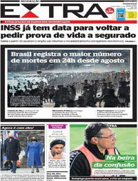 Capa do jornal Extra 21/01/2021
