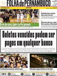 Capa Folha de Pernambuco 2018-10-15