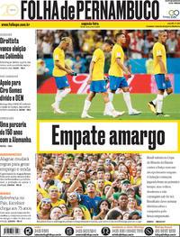 Capa Folha de Pernambuco 2018-06-18