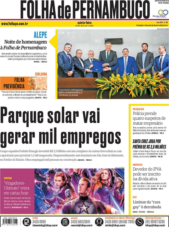 Capa Folha de Pernambuco 2019-04-25