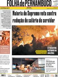 Capa Folha de Pernambuco 2019-08-23