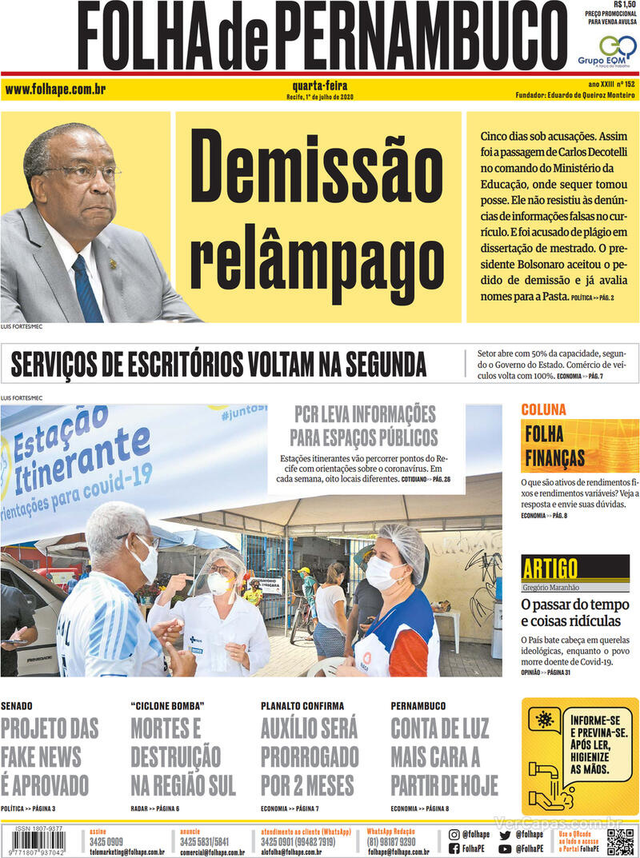 Capa do jornal Folha de Pernambuco 01/07/2020