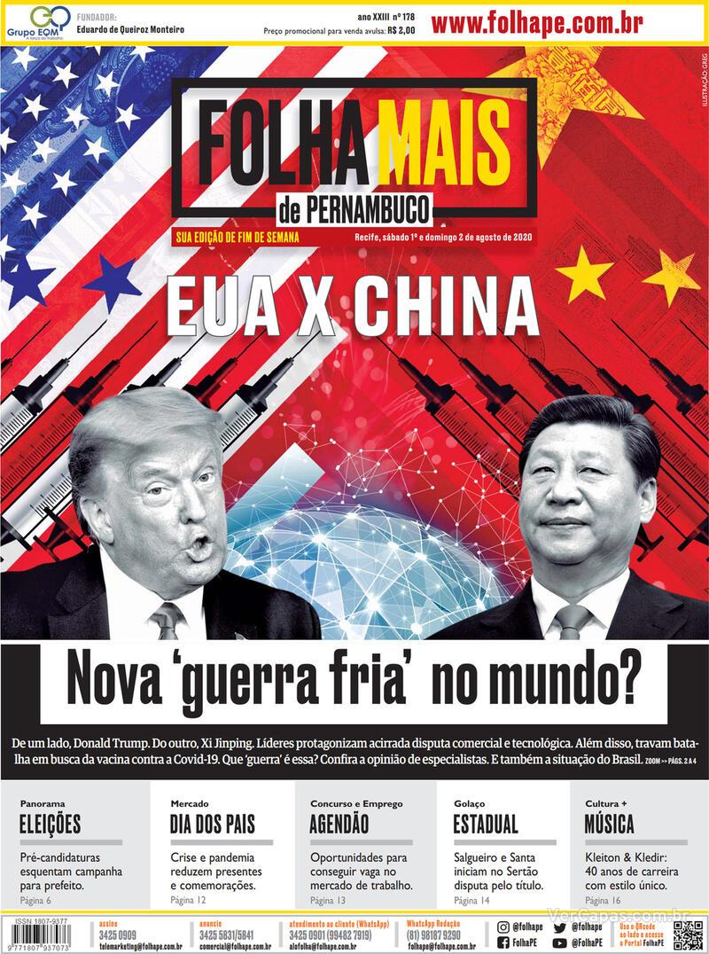 Capa do jornal Folha de Pernambuco 01/08/2020