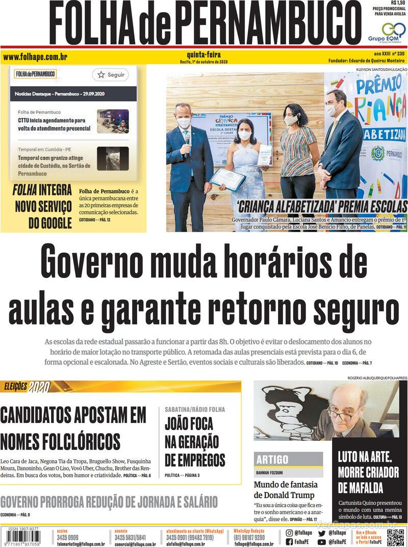 Capa do jornal Folha de Pernambuco 01/10/2020