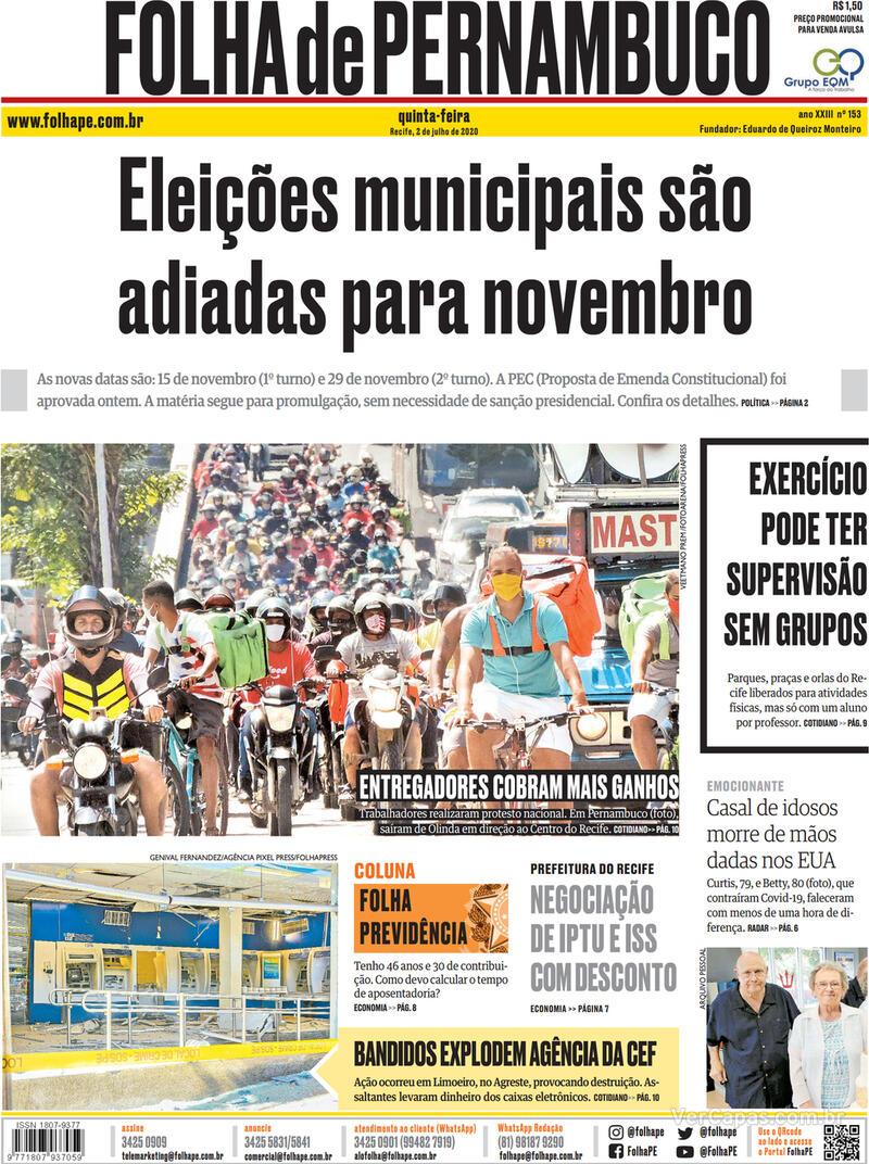 Capa do jornal Folha de Pernambuco 02/07/2020