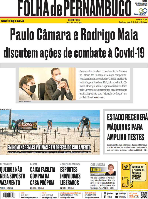 Capa do jornal Folha de Pernambuco 03/07/2020