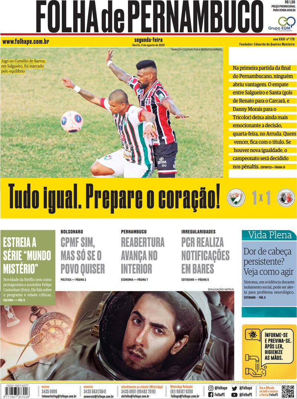 Capa do jornal Folha de Pernambuco 03/08/2020