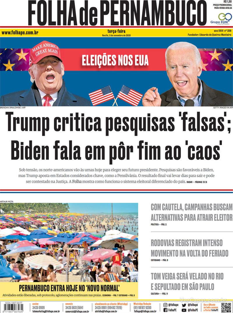 Capa do jornal Folha de Pernambuco 03/11/2020