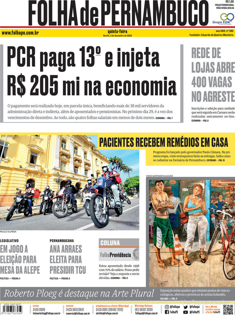 Capa do jornal Folha de Pernambuco 03/12/2020