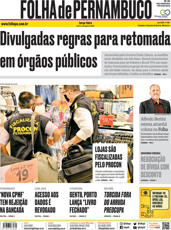 Capa do jornal Folha de Pernambuco 04/08/2020