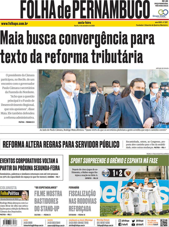 Capa do jornal Folha de Pernambuco 04/09/2020