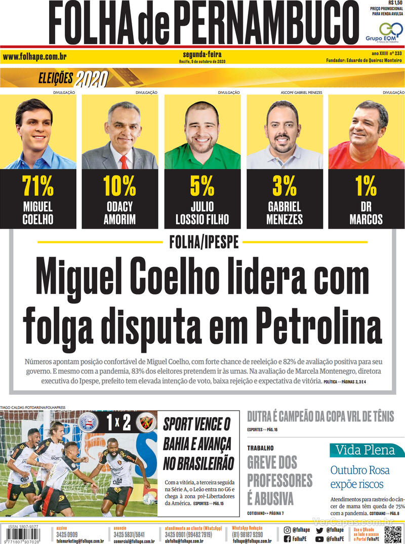 Capa do jornal Folha de Pernambuco 05/10/2020