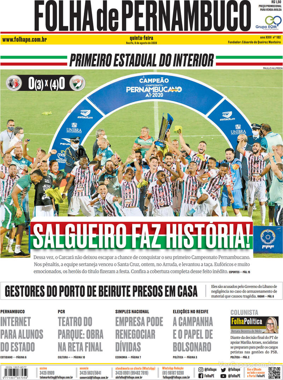 Capa do jornal Folha de Pernambuco 06/08/2020