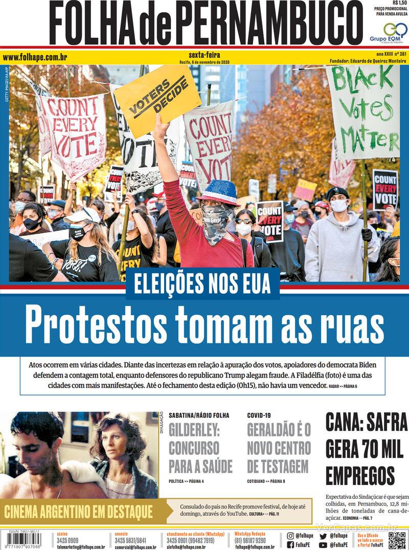 Capa do jornal Folha de Pernambuco 06/11/2020