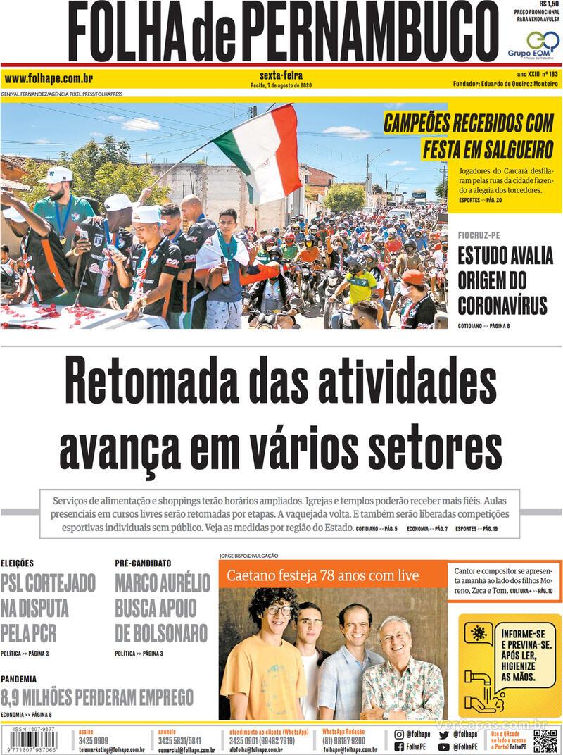 Capa do jornal Folha de Pernambuco 07/08/2020