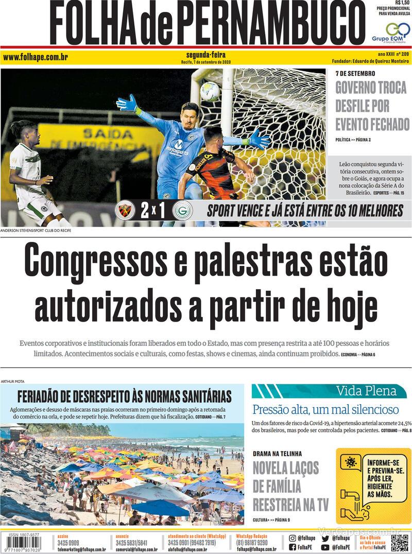 Capa do jornal Folha de Pernambuco 07/09/2020
