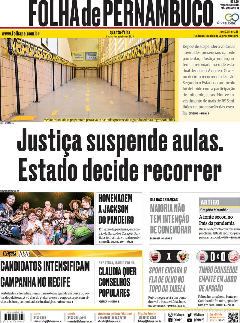 Capa do jornal Folha de Pernambuco 07/10/2020