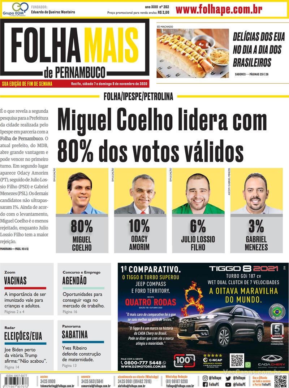 Capa do jornal Folha de Pernambuco 07/11/2020