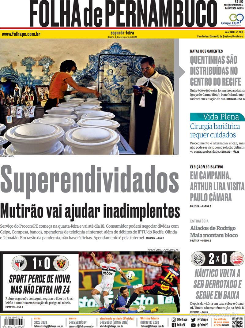 Capa do jornal Folha de Pernambuco 07/12/2020