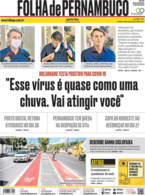 Capa do jornal Folha de Pernambuco 08/07/2020