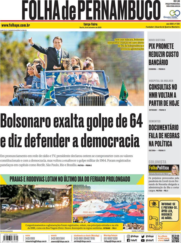 Capa do jornal Folha de Pernambuco 08/09/2020
